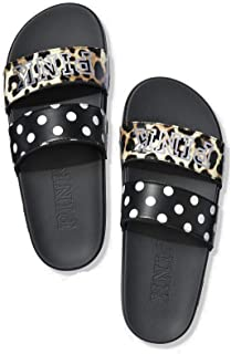 Victoria's Secret Pink New Double Strap Sport Slide Leopard & Black Dot