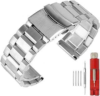 Correa de reloj de acero inoxidable con doble cierre sólido, acabado cepillado, pulsera de metal para hombres y mujeres, 1...