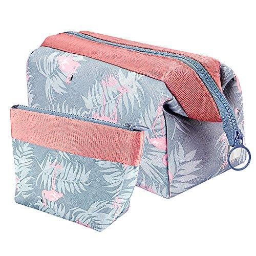Vamei Make-up Tasche Kosmetiktasche Reise Kosmetiktasche Frauen Portable Make Up Pouch Pack von 2 (Flamingo)