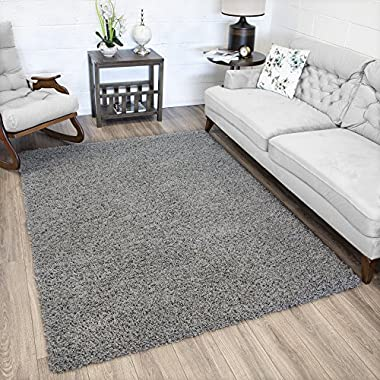 Ottomanson Soft Cozy Color Solid Shag Area Rug Contemporary Living and Bedroom Soft Shag Area Rug, Grey, 5'3  L x 7'0  W