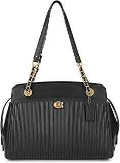 Women Quilted Parker Carryall Leather Tote (Black)