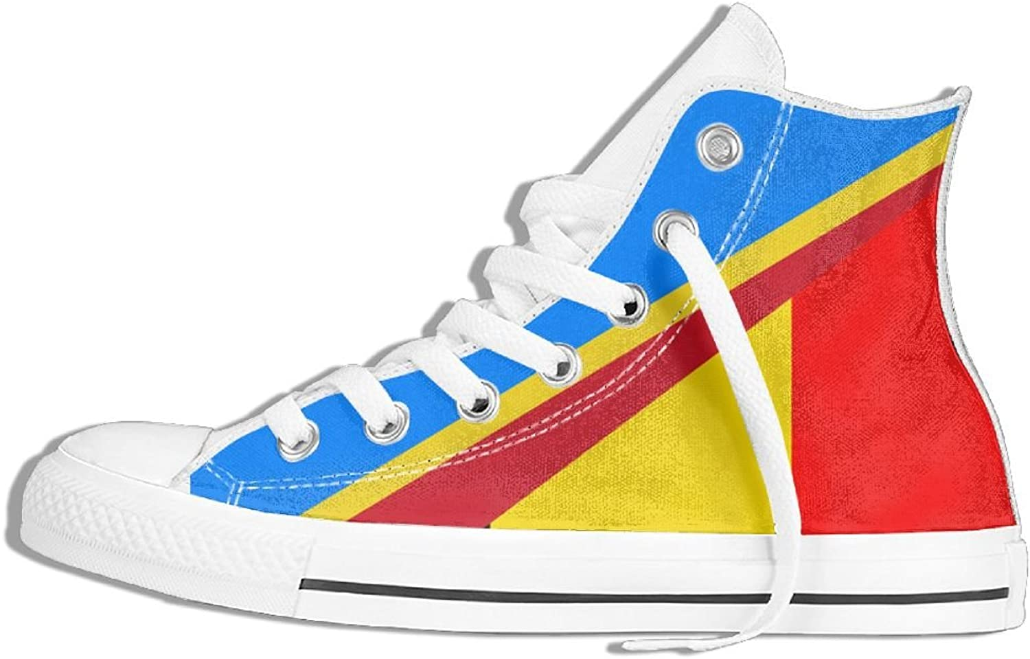 Unisex High Top Sneakers Belgium And Congo Flag Classic Canvas shoes Breathable Sneaker