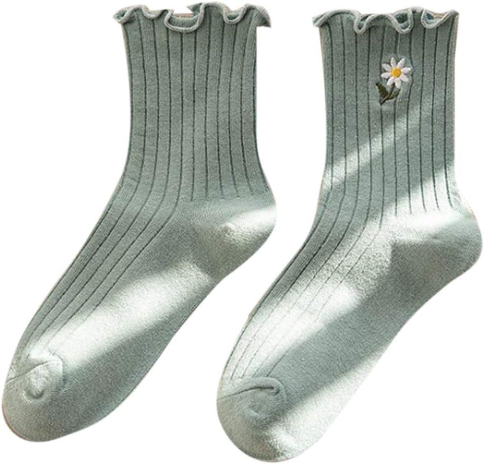 MYBOON Women Girls Daisy Floral Embroidery Ankle Socks Ruffles Ribbed Mid Tube Hosiery,Ankle Socks,Light Green