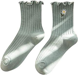 catyrre, Calcetines de tobillo con bordado floral de margarita para mujer y niñas, con volantes y canalé mediados