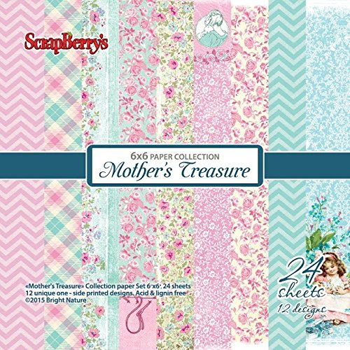 scrapberry 's Mother 's Treasure 24 Tabelle Papier Collection Multi Design Set, Aquamarin