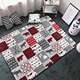 NiYoung Ultra Soft Indoor Modern Large Area Rugs, Luxury Comfy Bedroom Living Room Kids Room Baby Nursery Rug, Home Decor Carpet - 60 X 39 Inch (Vintage Happy Camper Red Bear Moose Lumberjack)