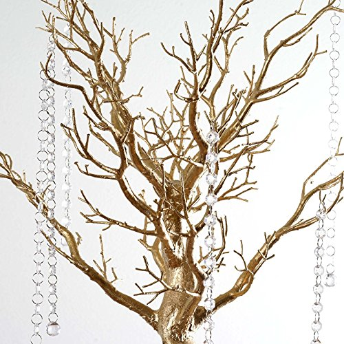 BalsaCircle 30-inch Tall Gold Glittered Manzanita Tree with Acrylic Garlands - Wedding Home Centerpieces Decorations DIY Supplies