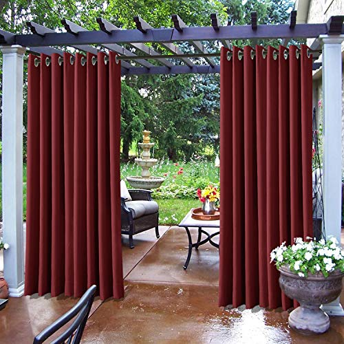 Frelement Outdoor Curtains Panels Rustproof Grommet 120W x 96L Thermal Insulated Waterproof Exterior Drapes Extra Wide for Gazebo Pavilion, Red,1 Panel