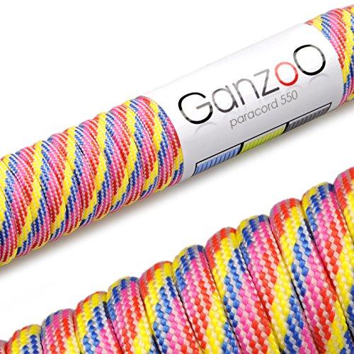Ganzoo Paracorde 550 Corde, pour Bracelet ou Collier de Chien, 31m, Jaune/Rose/Bleu