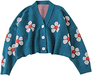 HJJ Cárdigan Corto de Manga Larga con Estampado de Flores Lindo, suéter de Punto con Cuello en V Suelto Informal, Estilo U...