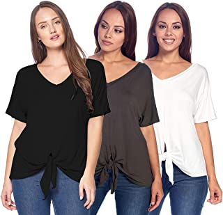 Isaac Liev Women's 3-Pack Short Sleeve Casual Loose fit Front Tie Knot Tops Tee Shirt