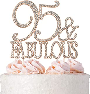 95 and Fabulous ROSE GOLD Cake Topper | Premium Sparkly Crystal Rhinestones | 95th Birthday Party Decoration Ideas | Quality Metal Alloy | Perfect Keepsake