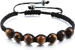 Tiger Eye Stone Bracelet Handmade Nylon Rope Braided Men Women Beaded Braceletd Adjustable Bangles Charm Chakra Wrist Jewelry