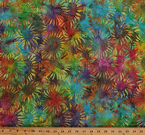 Cotton Batik Sunflowers Multi-Colored Flowers Floral Blossoms Gardens Botanical Spring Cotton Fabric Print by The Yard (884-130multi)