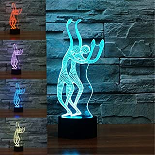 3D Abstract Ballet Dancers Yoga Night Light Table Desk Optical Illusion Lamps 7 Color Changing Lights LED Table Lamp Xmas Home Love Brithday Children Kids Decor Toy Gift