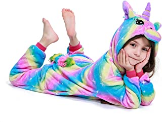 Kids Unicorn Onesie Pajamas Plush Halloween Cosplay Costume Birthday Gifts