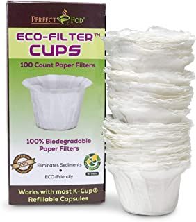 Perfect Pod ECO-Filter Cups | Disposable Paper Coffee Filters for Single-Serve Reusable K-Cups Pod Capsule (100-Ct)