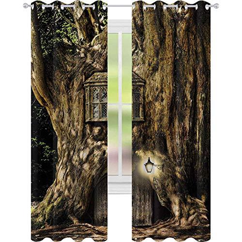 Cortinas opacas, casa de cuento de hadas en el tronco del árbol en el bosque con farolas, diseño temático de historias populares, cortinas de ventana de 52 x 84 para sala de estar, color marrón