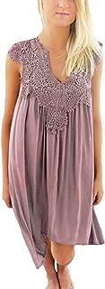 Exlura Women's Lace Patchwork Loose Mini Sexy Chiffon Casual Dresses