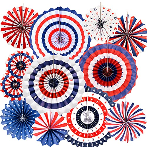 OEAGO 12 PCS 4th of July Decorations Set - Hanging Paper Fans Patriotic/Fourth of July Decor for Home/Outdoor Decor, Independence Day & Memorial Day &Veterans Birthday Party Supplies