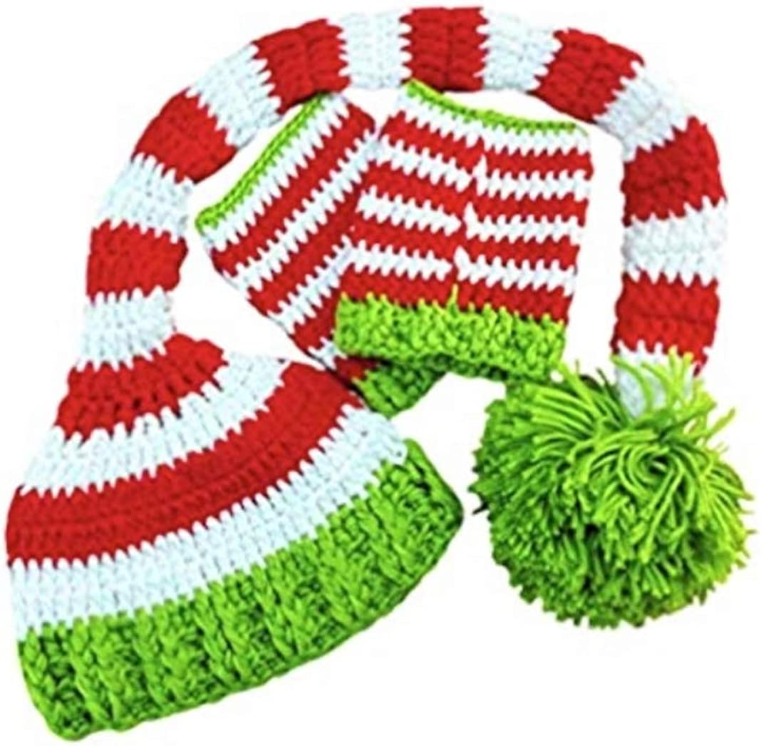 Baby Christmas Hat Santa Claus Pom Beanie Soft Knitted Winter Festive Caps for Baby Boys and Girls