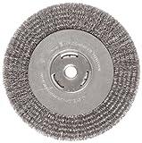 Weiler 36006 Vortec Pro 5/8' Arbor, 8' Diameter, 0.014' Wire Size, Carbon Steel Bristles, Wide Face, Crimped Wire Wheel Brush