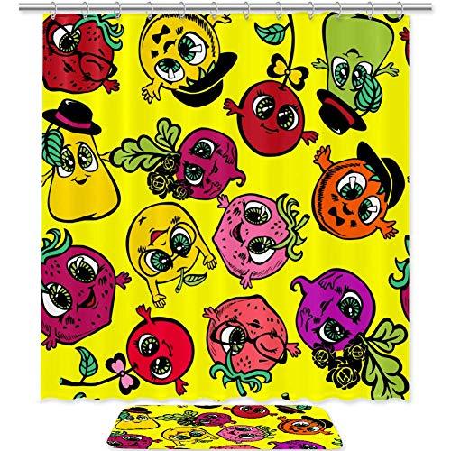 TIZORAX Cute Cartoon Gemüse & Obst Bad Duschvorhang Set mit rutschfesten Badezimmer Teppiche Bodenmatte Home Decoration