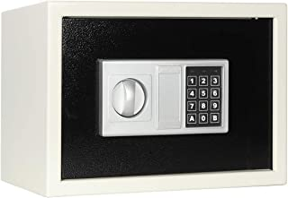 Lovndi Security Safe Box with Keypad, 0.5 Cubic Feet Digital Steel Lock Box for Home Office, 13.8x9.8x9.8 inches, White