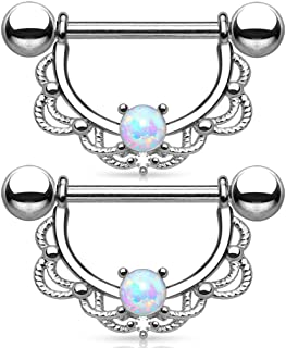 SunLife 2pcs Opal Stone Nipple Rings Stainless Steel Gold/Silver/Rose Gold Body Piercing (Silver)