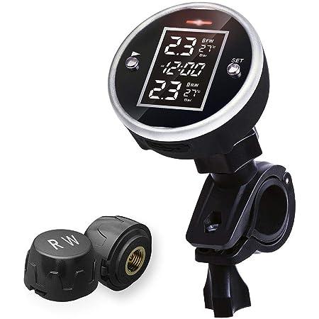 Kalebay Tpms Wireless Reifendruck Monitor System Für Motorrad Reifendruckkontrolle Mit Zeitanzeige 2 Externen Sensoren Auto