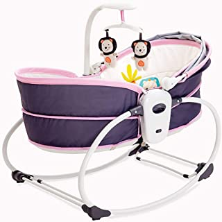 Electric Baby Shaker Vibration Rocking Chair 5-in-1 Nest Swing Chair Bouncer Chair Multifunction Adjustable Music Pink