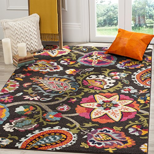 Safavieh Monaco Collection MNC229B Modern Colorful Floral Brown and Multicolored Area Rug (5'1' x 7'7')