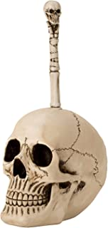 Nemesis Now Black And White Chequered Skull Toilet Brush Holder 16cm Porta scopino per WC con Teschio a Scacchi Colore: Nero e Bianco Taglia Unica 16 cm Poliresina