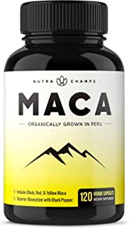 Sponsored Ad - Organic Maca Root Powder Capsules - Energy, Performance & Mood Supplement for Men & Women - Vegan Pills, Pe...