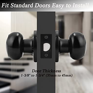Probrico (10 Pack) Round Passage Door Knob(Non-Locking Knobs), Keyless Doorknobs Interior/Exterior Door Lockset,Passage Knobs