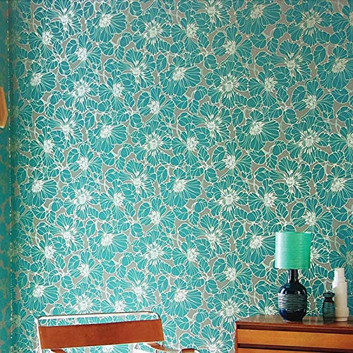 Azul Marino, Verde, Gris, Blanco Papel Pintado Floral Grande Moderno Arte Elegante...