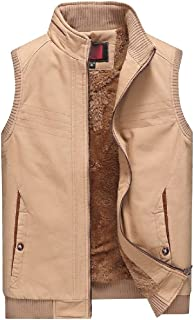 GAGA Mens Fleece Lined Lightweight Jacket Sleeveless Military Type Down Quilted Camping Vest Coat