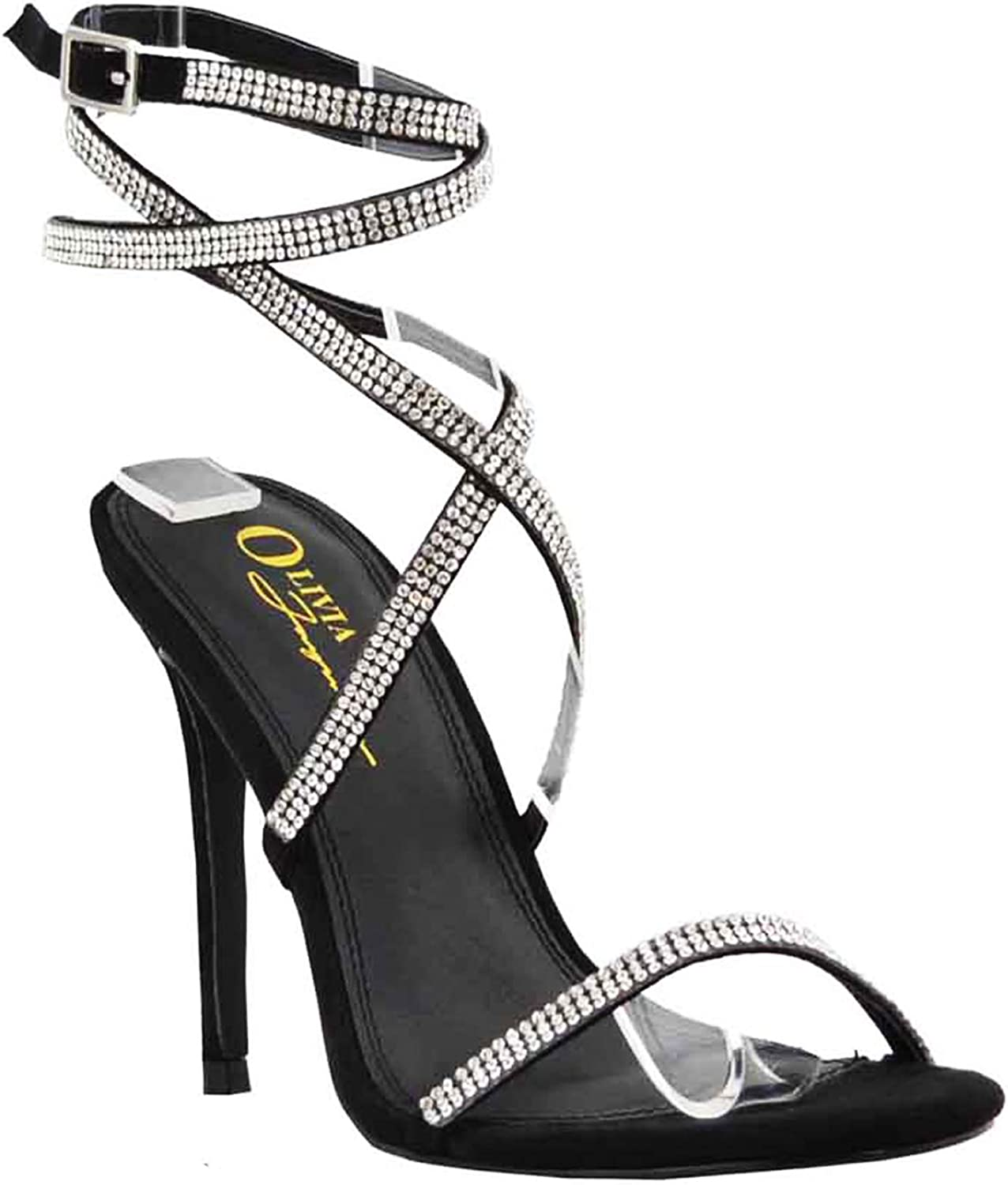 Olivia and Jaymes Women's Embellished Rhinestone Strappy Crisscross Ankle Strap Open Toe Stiletto Heel Sandal shoes