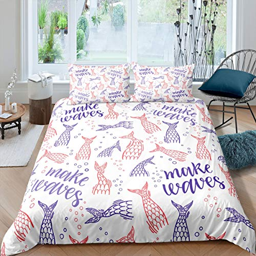 Blue Peach Bed Covers Queen Fish Tail Waves Bedspread Quilt Cover Set Newest Print Comforter Cover Set Warm Breathable Bedclothes for Winter 3pcs (1 Duvet Cover with 2 Pillowcases)