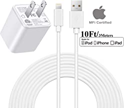 2in1 [ Apple MFi Certified ] 10Ft Lightning Cable/Cord + 5V/2.1A Dual Port USB Wall Plug Charger Block/Charging Cube/Brick/Box Power Adapter for iPhone Xs Max XR X 8 Plus 7 6s 6 5s 5 iPad 4 Air Mini