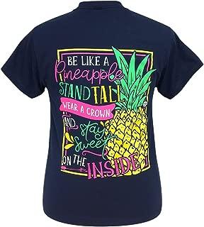 Girlie Girl Be Like a Pineapple Preppy Navy Short Sleeve T-Shirt