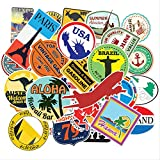LZWNB Mapa de Viaje país Famoso Logo PVC Pegatinas Impermeables Juguetes para niños decoración Maleta Bicicleta Coche Guitarra monopatín 50 unids/Set