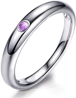 ANAZOZ Round Purple Amethyst Rings S925 Sterling Silver Marriage Rings for Women