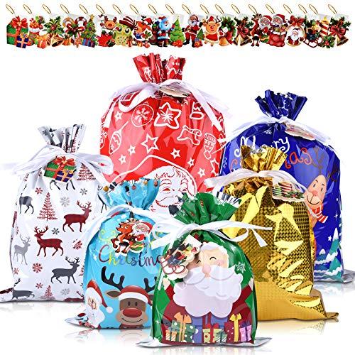KUUQA 18 Pz Sacchetti regalo con coulisse di Natale con 20 pezzi Etichette Stili assortiti Sacchetti da imballaggio Regalo di Natale Sacchetti regalo per la festa di Natale