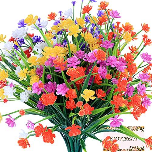 Künstliche Blumen, 6 Bündeln Kunstblumen Grün UV-beständige Pflanzen Deko, Simulation Blume eignet sich für Bouquet für Hausgartenparty Hochzeit Dekoration- (6 Colorful)