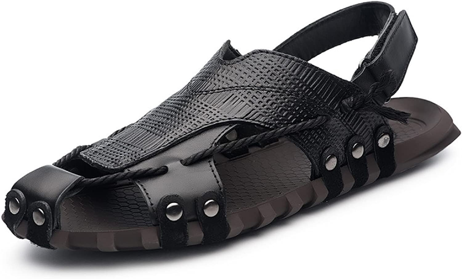 LXXAMens Summer Beach Male Slipper Real Leather Open-Toe Sandals Trekking shoes Two Uses