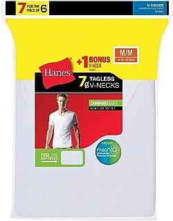 Hanes mens Tagless Cotton V-neck Undershirt, Multipack