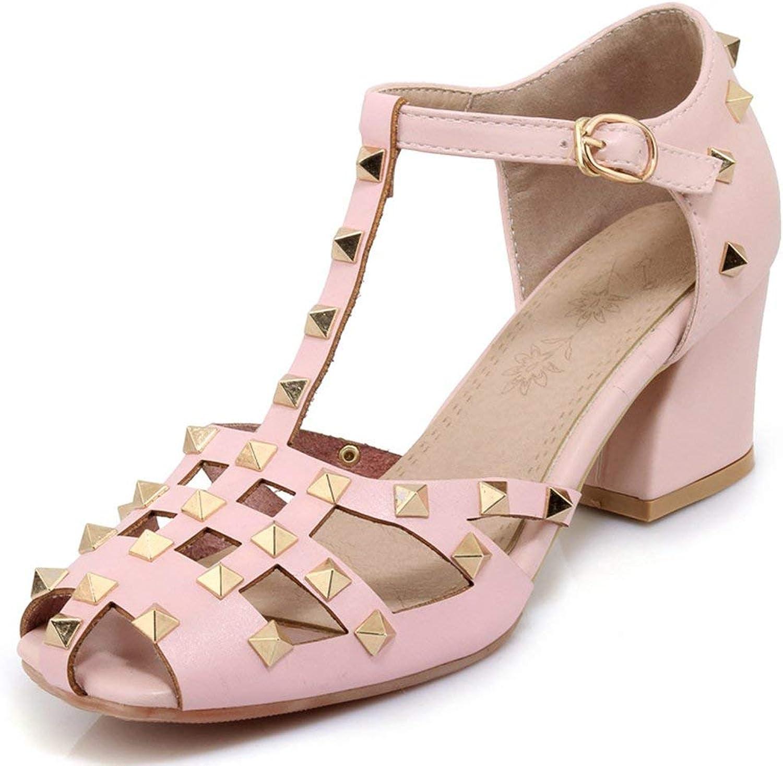 Ghapwe Women's Stylish Studded Rivets Square Toe Cut Out Buckle T-Strap Block Medium Heel Sandals Black 4 M US
