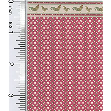 Brodnax Prints Dollhouse Miniature 1:24 Scale Rooster Red Wallpaper