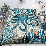 Turtle Bedding - Juego de funda de edredón con diseño de tortuga verde azulado y estilo mediano, diseño de océano con temática marina, 1 funda de edredón y 2 fundas de almohada (Queen, tortuga)